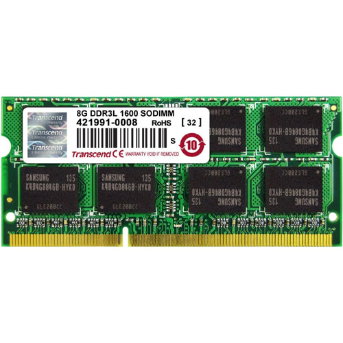 トランセンド TS1GSK64W6H [8GB DDR3L 1600 SO-DIMM 512Mx8 11-11-11 2Rx8 1.35V]