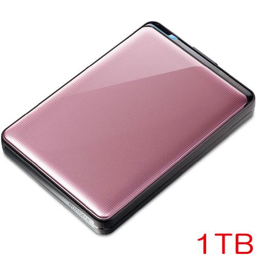 バッファロー HD-PNT1.0U3-PC [ターボPC EX2対応 耐衝撃&自動暗号化機能搭載 USB3.0用 ポータブルHDD 1TB ローズ]
