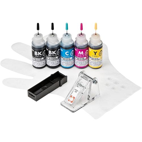 サンワサプライ INK-C370S30S5 [詰め替えインク BCI-370PGBK・371BK・C・M・Y用]