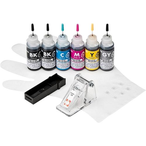 サンワサプライ INK-C371S30S6 [詰め替えインク BCI-370PGBK・371BK・C・M・Y・GY用]