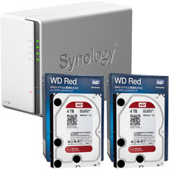Synology DS216j-WR4T2 [高性能2ベイNAS DiskStation DS216j + WD Red 4TB WD40EFRX(2台)セット]