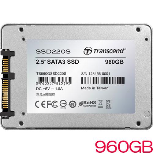 トランセンド TS960GSSD220S [960GB SSD220Sシリーズ 2.5インチ SATA3 TLC搭載 アルミ筐体]