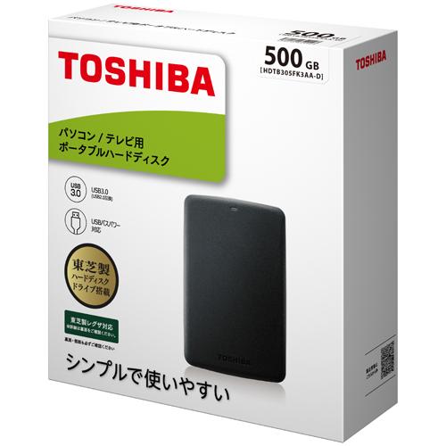 東芝 ポータブルHDD HDTB305FK3AA-D [ポータブルHDD 500GB ブラック]
