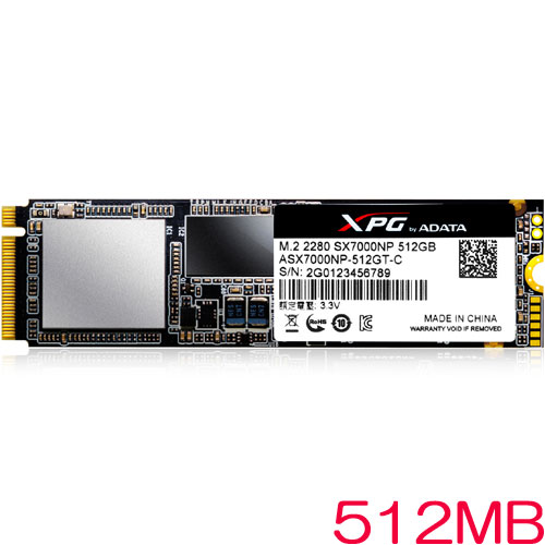 ADATA ASX7000NP-512GT-C [512GB SSD XPG SX7000 M.2 2280 TLC(3D NAND) PCIe Gen3x4]