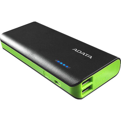 ADATA APT100-10000M-5V-CBKGR [モバイルバッテリ Power Bank PT100 10000mAh LEDライト搭載 ブラック/グリーン]