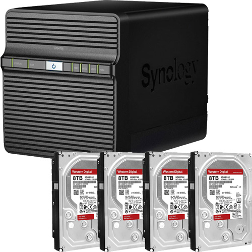 Synology DS418j-WR8T4 [DiskStation J シリーズ 4ベイ NAS DS418j + WD Red 8TB WD80EFAX(4台)セット]