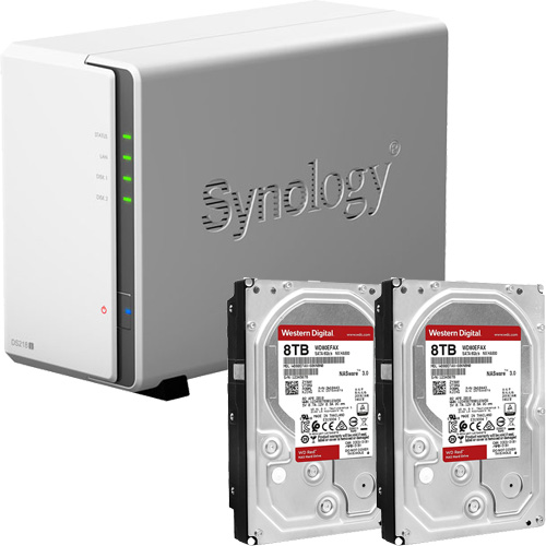 Synology DS218j-WR8T2 [DiskStation J シリーズ 2ベイ NAS DS218j + WD Red 8TB WD80EFAX(2台)セット]