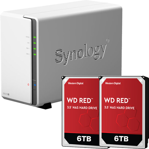 Synology DS218j-WR6T2 [DiskStation J シリーズ 2ベイ NAS DS218j + WD Red 6TB WD60EFAX(2台)セット]