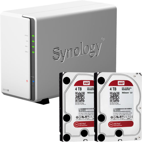 Synology DS218j-WR4T2 [DiskStation J シリーズ 2ベイ NAS DS218j + WD Red 4TB WD40EFRX-RT2(2台)セット]