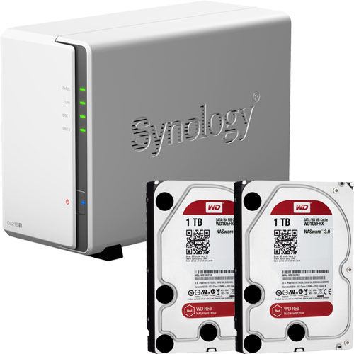 Synology DS218j-WR1T2 [DiskStation J シリーズ 2ベイ NAS DS218j + WD Red 1TB WD10EFRX(2台)セット]