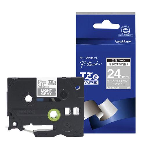 TZeテープ TZe-MQL55 [おしゃれテープ つや消しライトグレー/白字 24mm]