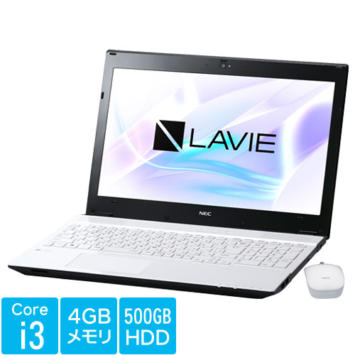 NEC PC-SN242FRAB-1 [LAVIE Smart NS(S)(Core i3、15.6FHD、4GB、500GB 、DVD、マウス、W10、WH)]