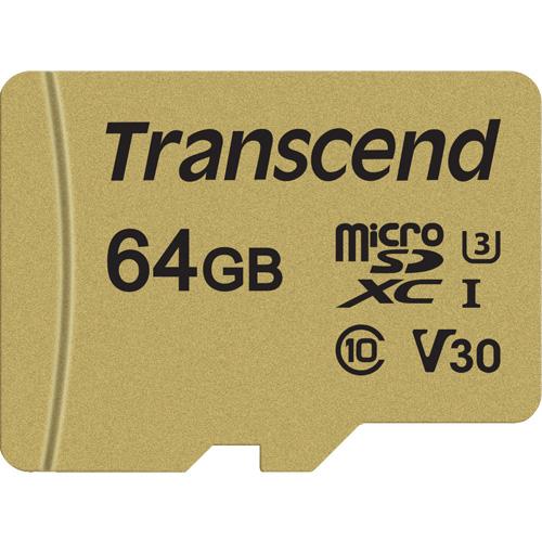 トランセンド TS64GUSD500S [64GB microSDXC 500S MLC NAND Class 10、UHS-I U3、V30 対応]