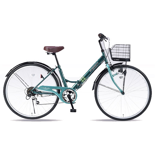M-507-GR [折畳自転車/シティサイクル/26インチ/6SP/肉厚チューブ/グリーン]