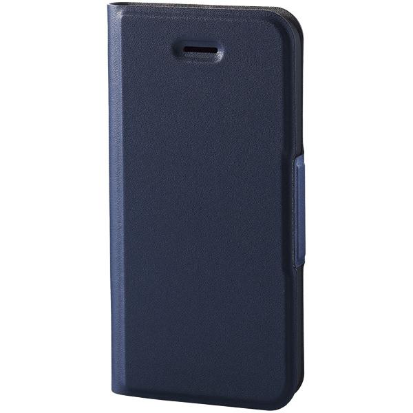 エレコム PM-A18SPLFUNV [iPhone SE用ソフトレザーカバー/薄型/磁石付/ネイビー]