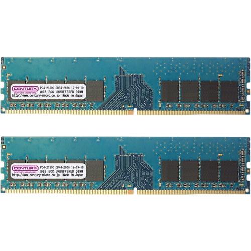 センチュリーマイクロ CK8GX2-D4UE2666H [16GB kit (8GBx2) DDR4-2666 (PC4-21300) ECC U-DIMM 288pin Single RANK 1024Mx8]