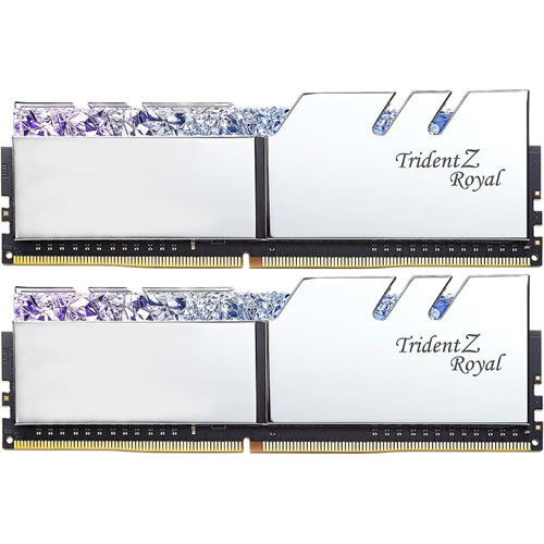 G.SKILL F4-3000C16Q-64GTRS [Trident Z Royal 64GB (16GBx4) DDR4 3000Mhz (PC4-24000) CL16 1.35V XMP2.0 Silver]