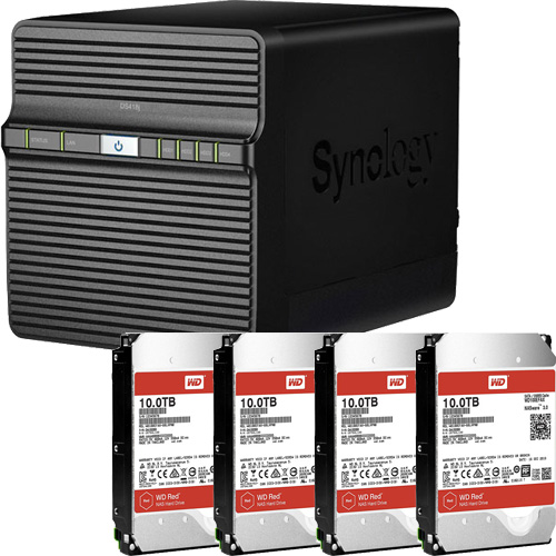 Synology DS418j-WR10T4 [DiskStation J シリーズ 4ベイ NAS DS418j + WD Red 10TB WD100EFAX(4台)セット]