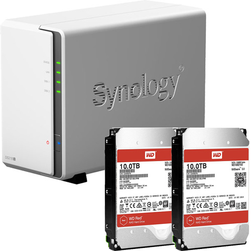 Synology DS218j-WR10T2 [DiskStation J シリーズ 2ベイ NAS DS218j + WD Red 10TB WD100EFAX(2台)セット]