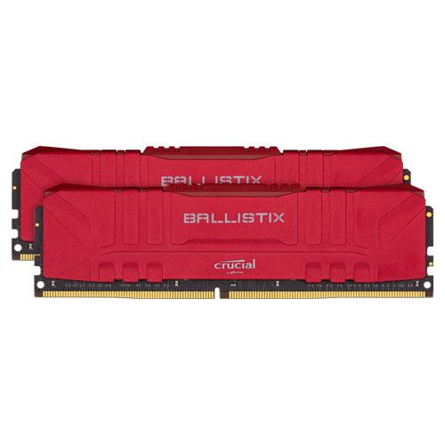 クルーシャル BL2K16G26C16U4R [Ballistix 32GB Kit (16GBx2) DDR4 2666MT/s (PC4-21300) CL16 UDIMM 288pin Red]