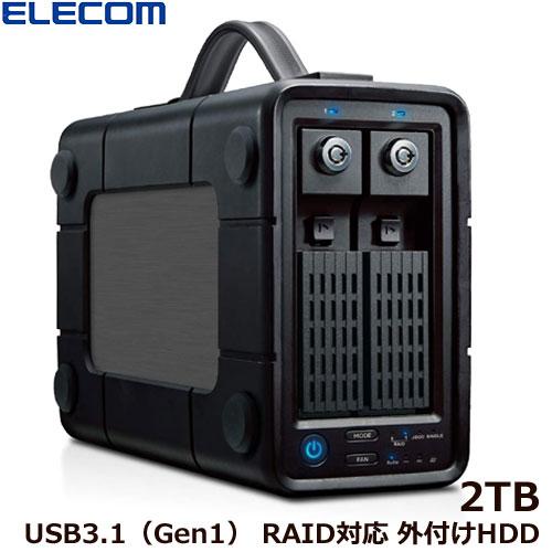 エレコム ELD-2B020UBK [外付けHDD/2Bay/RAID/2TB]