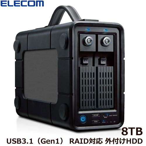 エレコム ELD-2B080UBK [外付けHDD/2Bay/RAID/8TB]