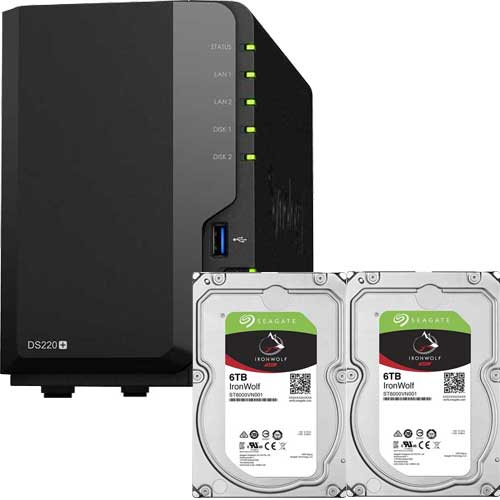 DS220+-SI6T2A [DiskStation 2ベイ NAS DS220+ + Seagate IronWolf 6TB ST6000VN001 (2台) セット]