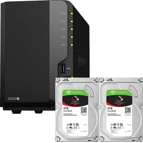 DS220+-SI3T2A [DiskStation 2ベイ NAS DS220+ + Seagate IronWolf 3TB ST3000VN007 (2台) セット]