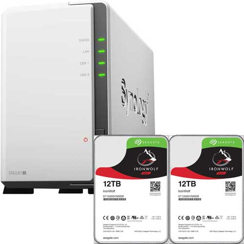 DS220j-SI12T2A [DiskStation 2ベイ NAS DS220j + Seagate IronWolf 12TB ST12000VN0008 (2台) セット]