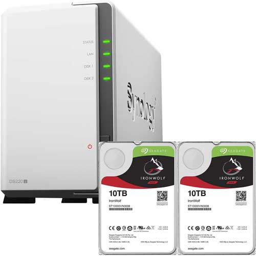DS220j-SI10T2A [DiskStation 2ベイ NAS DS220j + Seagate IronWolf 10TB ST10000VN0008 (2台) セット]