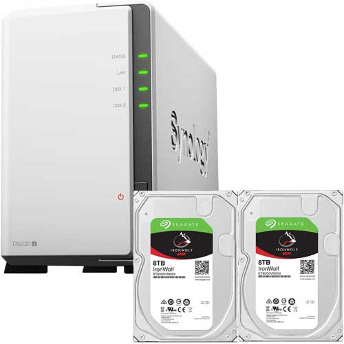 DS220j-SI8T2A [DiskStation 2ベイ NAS DS220j + Seagate IronWolf 8TB ST8000VN004 (2台) セット]