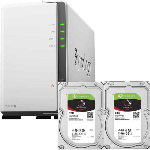 DS220j-SI6T2A [DiskStation 2ベイ NAS DS220j + Seagate IronWolf 6TB ST6000VN001 (2台) セット]