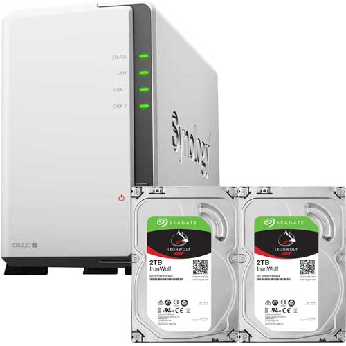 Synology DS220j-SI2T2A [DiskStation 2ベイ NAS DS220j + Seagate IronWolf 2TB ST2000VN004 (2台) セット]