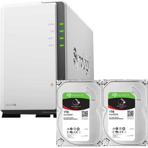 DS220j-SI1T2A [DiskStation 2ベイ NAS DS220j + Seagate IronWolf 1TB ST1000VN002 (2台) セット]