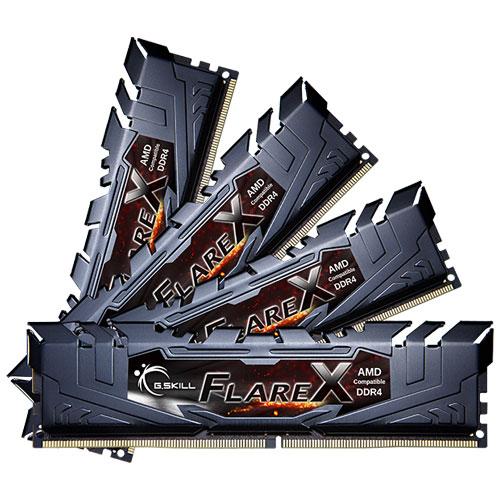 G.SKILL F4-2400C15Q-32GFX [Flare X (For AMD) 32GB (8GBx4) DDR4 2400MHz (PC4-19200) CL15-15-15-39 1.20V]