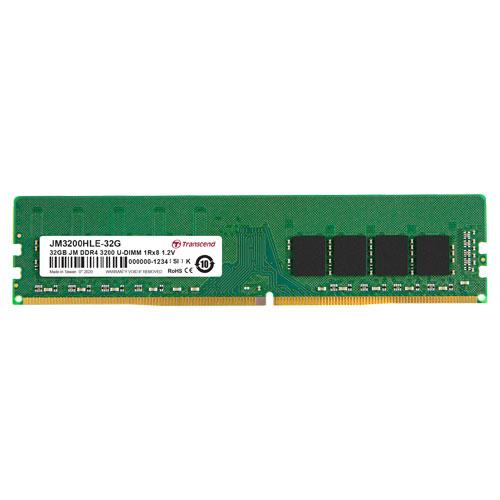 トランセンド JM3200HLE-32G [32GB JetRam DDR4 3200 U-DIMM 2Rx8 (2Gx8) CL22 1.2V]