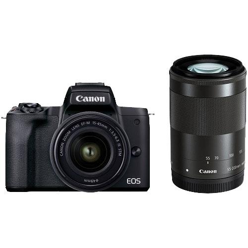 ミラーレスカメラ EOS Kiss M2 ダブルズームキット ブラック