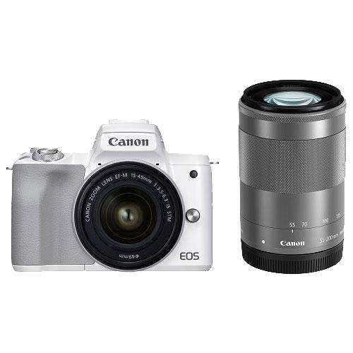 ミラーレスカメラ EOS Kiss M2 ダブルズームキット ホワイト