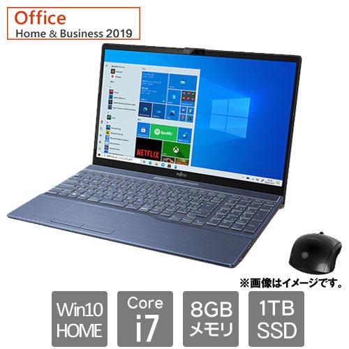 富士通 FMVA77E3L [LIFEBOOK AH77/E3 (Core i7 8GB SSD1TB Win10Home64 15.6 H&B2019 メタリックブルー)]