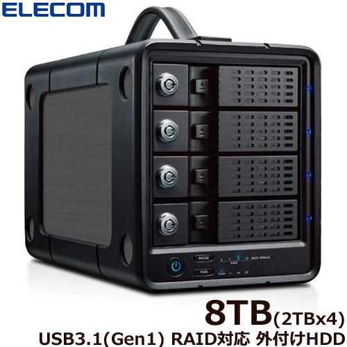 エレコム ELD-4B080UBK [外付けHDD/4Bay/RAID/8TB]