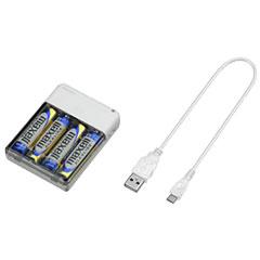 グリーンハウス GH-BTB34A-WH [乾電池式 モバイル充電器 単三形4本 ホワイト]