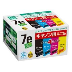エレコム ECI-CA07E4P/BOX [エコリカ リサイクルインク/キヤノン/BCI-7E/4MP対応]