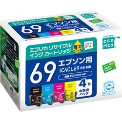 エレコム ECI-E69-4P [エコリカ リサイクルインク/EPSON/IC4CL69/4色パック]